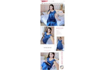 *SmartChoice*ReadyStock Free Size Satin Ice Silk Nightdress Sleepwear Lingerie Sleeping Dress Wear Baju Tidur Pyjamas
